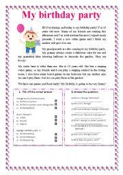 English Worksheet: My birthday party