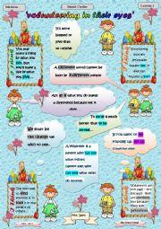 English Worksheet: VOLUNTEERING IN THEIR EYES