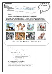 English Worksheet: volunteering kids