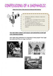 English Worksheet: CAE speaking task- confessions of a shopaholic