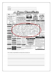 English Worksheet: Composition Introduction - Classified Ads