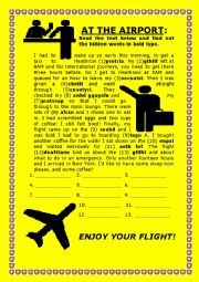 English Worksheet: AIRPORT: HIDDEN VOCABULARY AND SYMBOLS