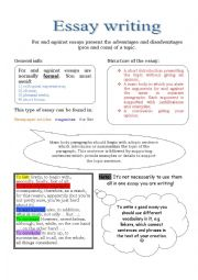 worksheets for essay writing