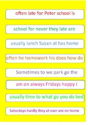 English worksheet: Position of adverbs of frequency - scrambled sentences