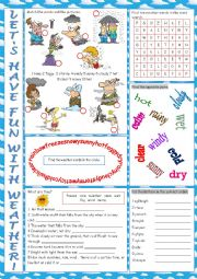 English Worksheet: Weather Vocabulary Exercises
