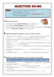 English Worksheet: Adjectives -ed/-ing (key included)
