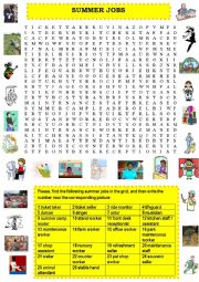 English Worksheet: Summer jobs - wordsearch
