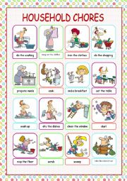 English Worksheet: Household Chores Picture Dictionary
