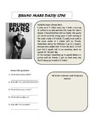 English Worksheet: BRUNO MARS DAILY LIFE