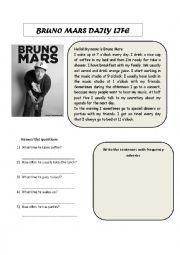 English Worksheet: BRUNO MARS DAILY LIFE