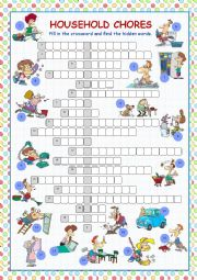 English Worksheet: Household Chores Crossword Puzzle