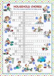 English Worksheet: Household Chores Crossword Puzzle