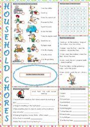 English Worksheet: Household Chores Vocabulary Exercises