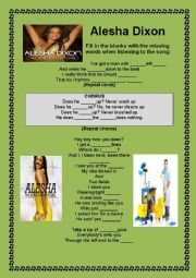 English Worksheet: SONG THE BOY DOES NOTHING BY ALESHA DIXON