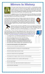 English Worksheet: The History Of Mirrors