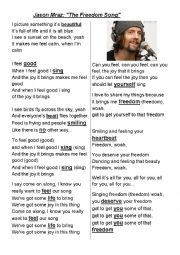 English Worksheet: Freedom Song by Jason Mraz