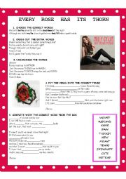 English Worksheet: EVERY ROSE HAS ITS THORN (Poison) Miley Cyrus version