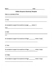 English Worksheet: Sequencing and Summarizing Outline
