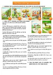 English worksheet: THE THREE LITTLE PIGS: 1st episode
