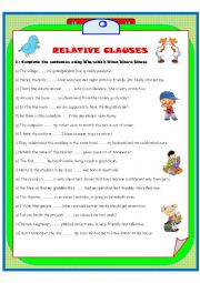 English Worksheet: RELATIVE CLAUSES (2 pages)