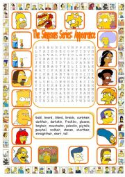 English Worksheet: The Simpsons Series: Appearance WordSearch (Key included)