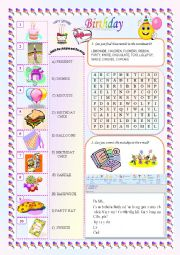 English Worksheet: Birthday