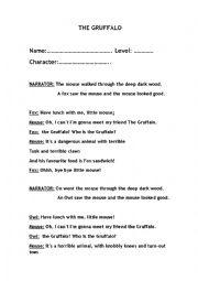 English Worksheet: Gruffalo Play (easy version)