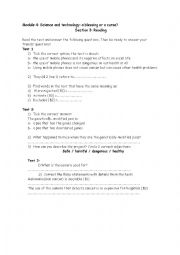 English Worksheet: Module 4 science and technology: a blessing or a curse? Section 3 Reading