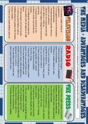 English Worksheet: The Media - advantages and disadvantages