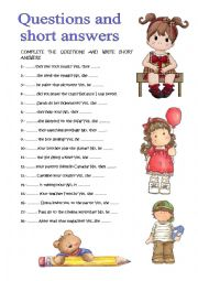 English Worksheet: QUESTIONS AND SHORT ANSWERS