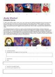 English Worksheet: Andy Warhol�s Endangered Species
