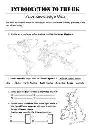 English Worksheet: Intro to UK Prior Knowledge Quiz