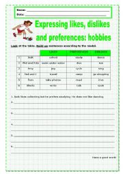 Expressing likes, dislikes and preferences: hobbies_1
