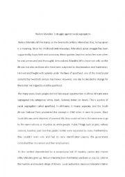 English Worksheet: Nelson Mandela and the racial segregation