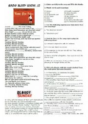 English Worksheet: Song Sunday Bloody Sunday - listening comprehension and interpretation