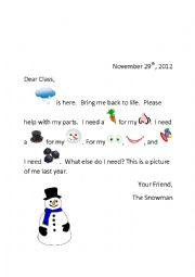 English Worksheet: kindergarten/1st grade snowman letter label
