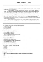 English Worksheet: 9th Grade  reading test 1st term