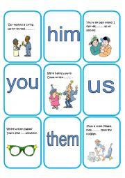 English Worksheet: Object Pronouns cards part 1