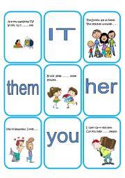 English Worksheet: Object Pronouns cards part 2