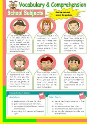 English Worksheet: School Subjects - Reading Comprehension + Conversation (3 pages)