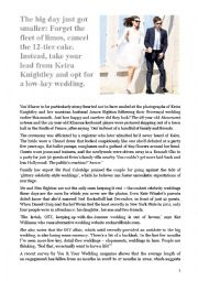 English Worksheet: Reading - Keira Knightley�s wedding