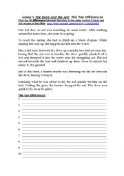 English Worksheet: Aesop�s The Dove and The Ant: Find out 10 differences. With Key