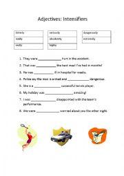 English Worksheet: Adjectives: Intensifiers