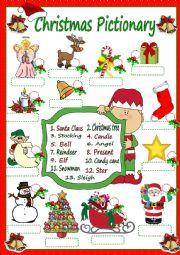 English Worksheet: Christmas Pictionary