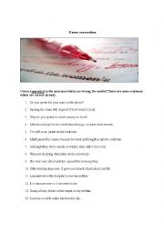 English Worksheet: Correcting sentence mistakes