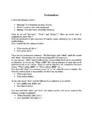 English Worksheet: exclamation