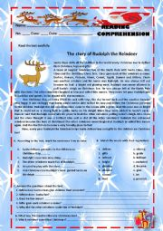 English Worksheet: The story of Rudolph the Reindeer - Reading comprehension