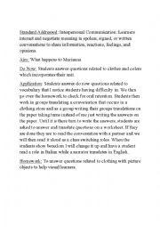 English Worksheet: Lesson plan on clothing