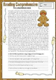 English Worksheet: THE GINGERBREAD MAN - READING COMPREHENSION