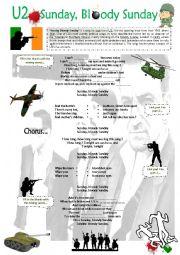 English Worksheet: U2 - Sunday Bloody Sunday